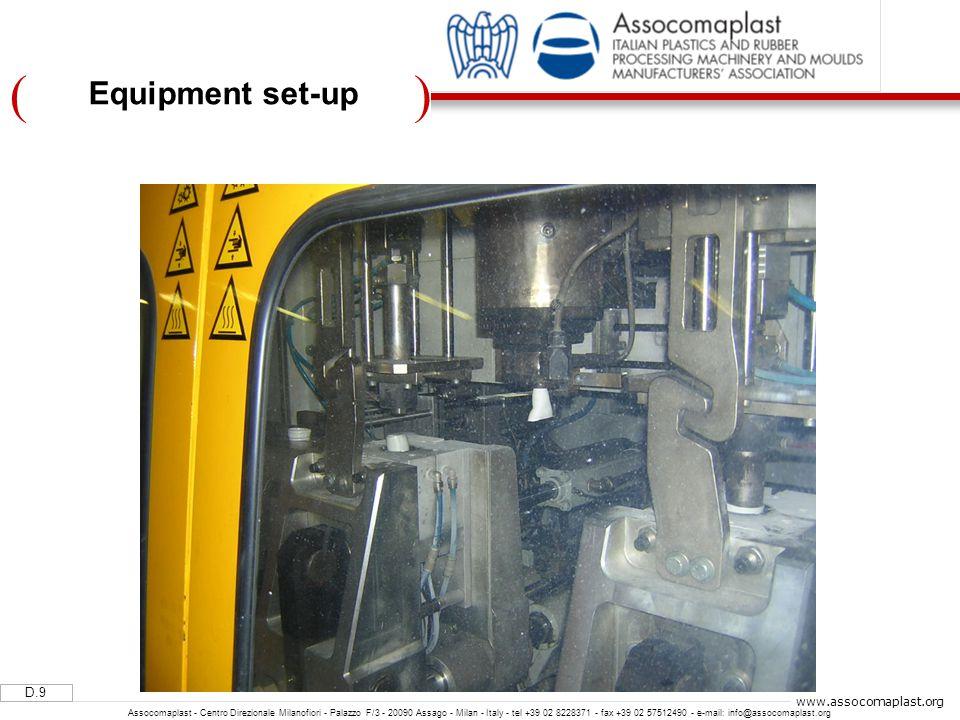 )( D.9 Assocomaplast - Centro Direzionale Milanofiori - Palazzo F/3 - 20090 Assago - Milan - Italy - tel +39 02 8228371 - fax +39 02 57512490 - e-mail: info@assocomaplast.org www.assocomaplast.org Equipment set-up