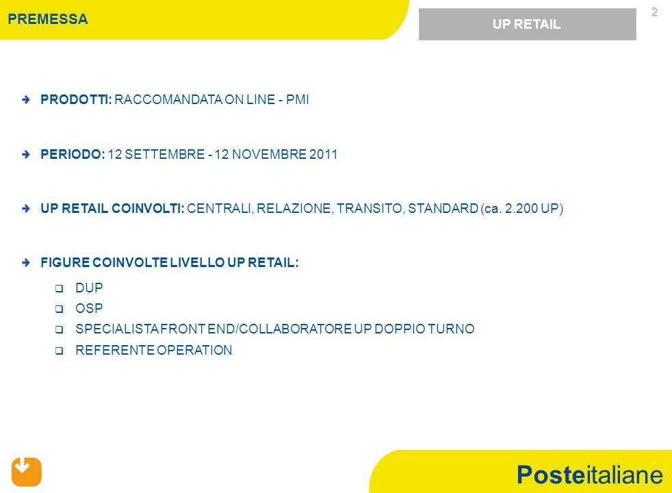 Posteitaliane 2 UP RETAIL PRODOTTI: RACCOMANDATA ON LINE - PMI PERIODO: 12 SETTEMBRE - 12 NOVEMBRE 2011 UP RETAIL COINVOLTI: CENTRALI, RELAZIONE, TRANSITO, STANDARD (ca.