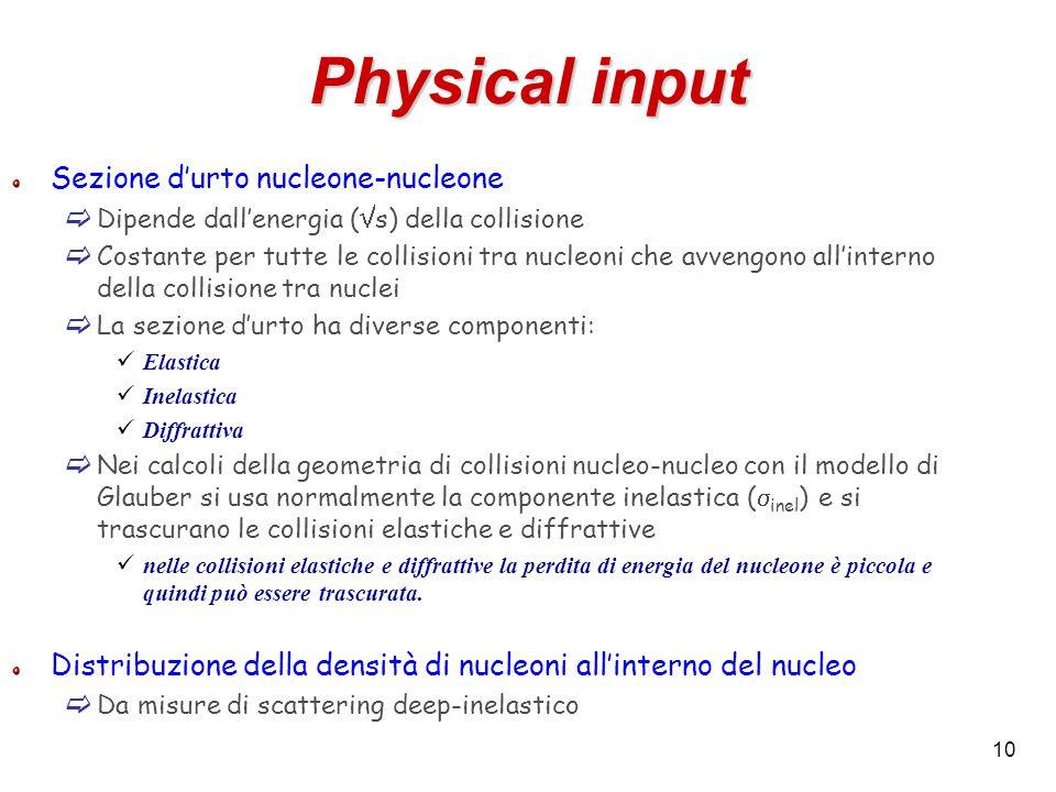 10 Physical input Sezione d'urto nucleone-nucleone  Dipende dall'energia (  s) della collisione  Costante per tutte le collisioni tra nucleoni che avvengono all'interno della collisione tra nuclei  La sezione d'urto ha diverse componenti: Elastica Inelastica Diffrattiva  Nei calcoli della geometria di collisioni nucleo-nucleo con il modello di Glauber si usa normalmente la componente inelastica (  inel ) e si trascurano le collisioni elastiche e diffrattive nelle collisioni elastiche e diffrattive la perdita di energia del nucleone è piccola e quindi può essere trascurata.