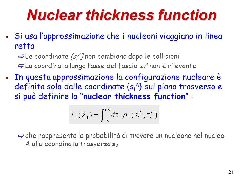 21 Nuclear thickness function Si usa l'approssimazione che i nucleoni viaggiano in linea retta  Le coordinate {s i A } non cambiano dopo le collisioni  La coordinata lungo l'asse del fascio z i A non è rilevante In questa approssimazione la configurazione nucleare è definita solo dalle coordinate {s i A } sul piano trasverso e si può definire la nuclear thickness function :  che rappresenta la probabilità di trovare un nucleone nel nucleo A alla coordinata trasversa s A