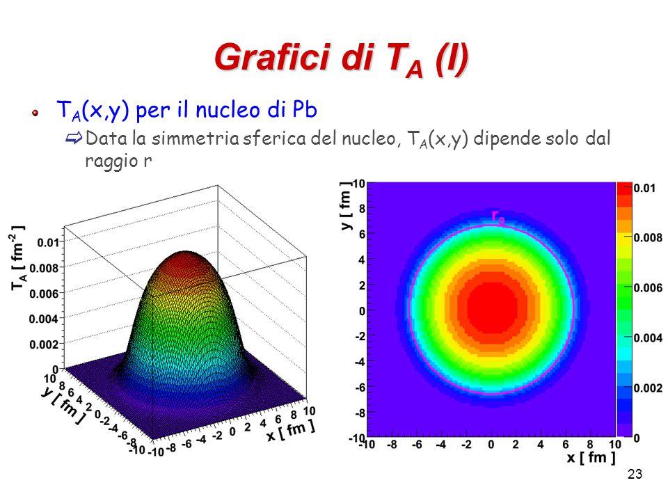 23 Grafici di T A (I) T A (x,y) per il nucleo di Pb  Data la simmetria sferica del nucleo, T A (x,y) dipende solo dal raggio r
