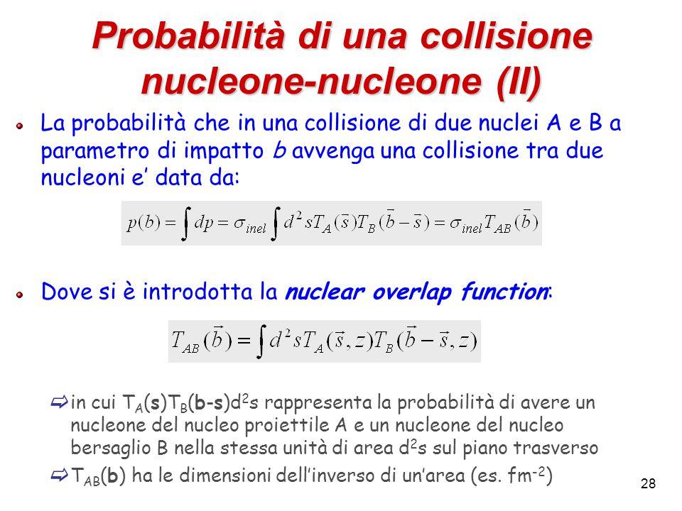 28 Probabilità di una collisione nucleone-nucleone (II) La probabilità che in una collisione di due nuclei A e B a parametro di impatto b avvenga una collisione tra due nucleoni e' data da: Dove si è introdotta la nuclear overlap function:  in cui T A (s)T B (b-s)d 2 s rappresenta la probabilità di avere un nucleone del nucleo proiettile A e un nucleone del nucleo bersaglio B nella stessa unità di area d 2 s sul piano trasverso  T AB (b) ha le dimensioni dell'inverso di un'area (es.