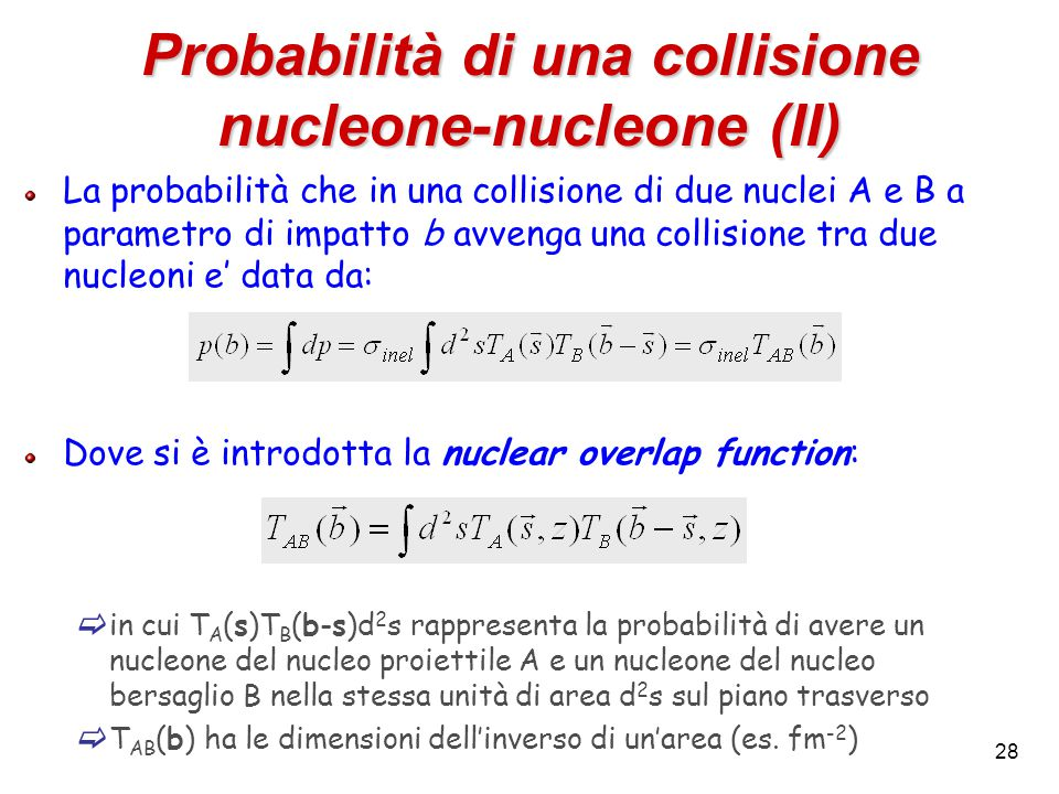 28 Probabilità di una collisione nucleone-nucleone (II) La probabilità che in una collisione di due nuclei A e B a parametro di impatto b avvenga una