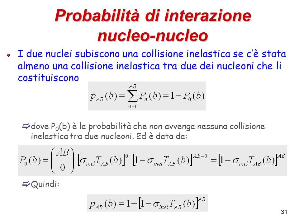 31 Probabilità di interazione nucleo-nucleo I due nuclei subiscono una collisione inelastica se c'è stata almeno una collisione inelastica tra due dei nucleoni che li costituiscono  dove P 0 (b) è la probabilità che non avvenga nessuna collisione inelastica tra due nucleoni.