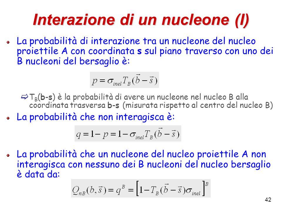 42 Interazione di un nucleone (I) La probabilità di interazione tra un nucleone del nucleo proiettile A con coordinata s sul piano traverso con uno dei B nucleoni del bersaglio è:  T B (b-s) è la probabilità di avere un nucleone nel nucleo B alla coordinata trasversa b-s (misurata rispetto al centro del nucleo B) La probabilità che non interagisca è: La probabilità che un nucleone del nucleo proiettile A non interagisca con nessuno dei B nucleoni del nucleo bersaglio è data da: