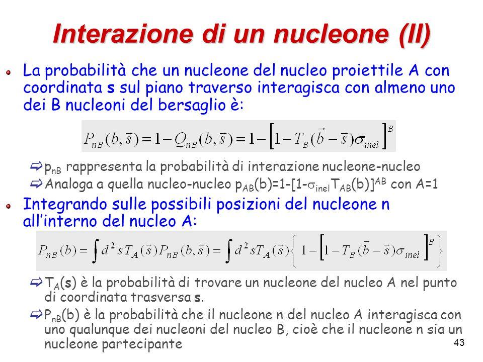 43 Interazione di un nucleone (II) La probabilità che un nucleone del nucleo proiettile A con coordinata s sul piano traverso interagisca con almeno uno dei B nucleoni del bersaglio è:  p nB rappresenta la probabilità di interazione nucleone-nucleo  Analoga a quella nucleo-nucleo p AB (b)=1-[1-  inel T AB (b)] AB con A=1 Integrando sulle possibili posizioni del nucleone n all'interno del nucleo A:  T A (s) è la probabilità di trovare un nucleone del nucleo A nel punto di coordinata trasversa s.