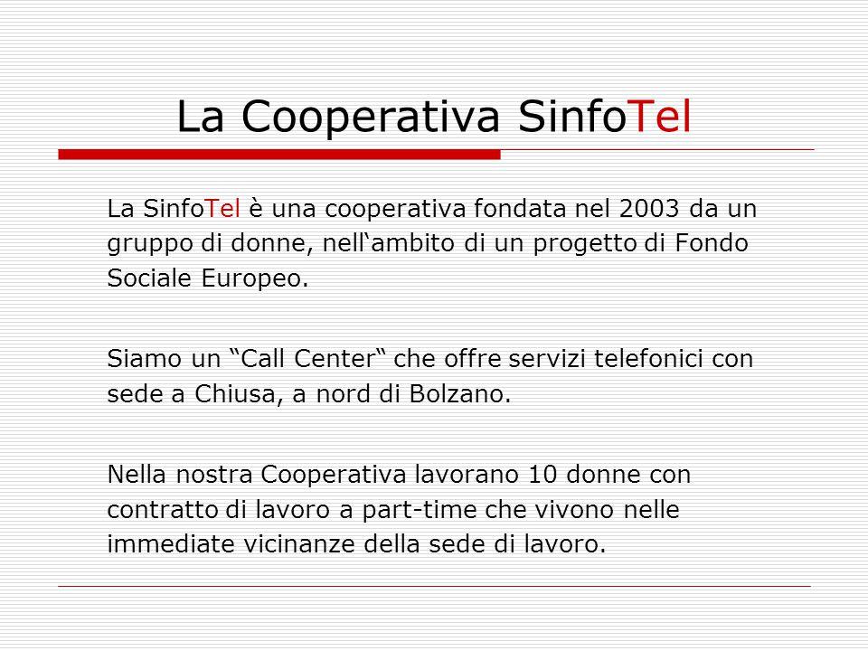 La Cooperativa SinfoTel La SinfoTel è una cooperativa fondata nel 2003 da un gruppo di donne, nell'ambito di un progetto di Fondo Sociale Europeo. Sia