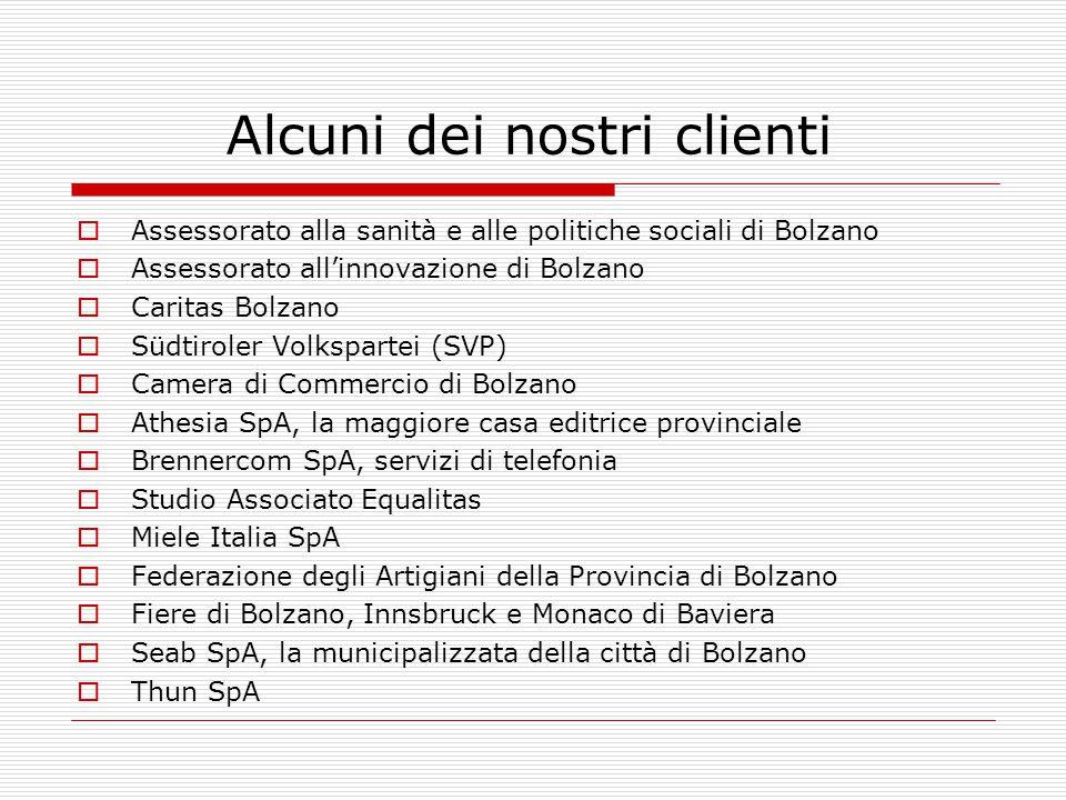 Alcuni dei nostri clienti  Assessorato alla sanità e alle politiche sociali di Bolzano  Assessorato all'innovazione di Bolzano  Caritas Bolzano  S