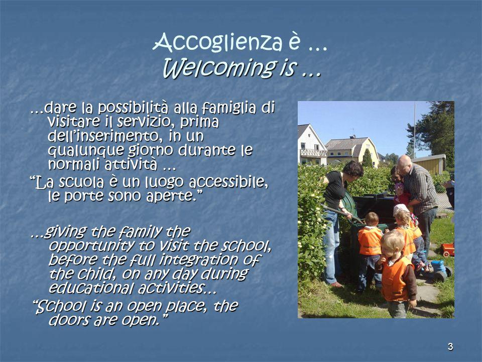 3 Welcoming is … Accoglienza è … Welcoming is … …dare la possibilità alla famiglia di visitare il servizio, prima dell'inserimento, in un qualunque gi