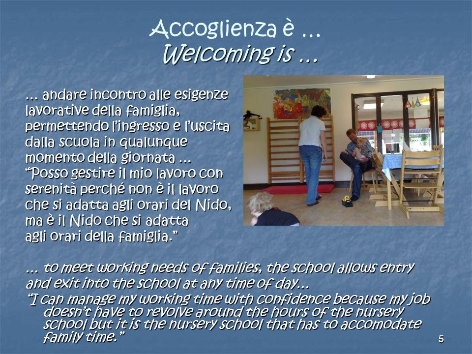 5 Welcoming is … Accoglienza è … Welcoming is … … andare incontro alle esigenze lavorative della famiglia, permettendo l'ingresso e l'uscita dalla scu