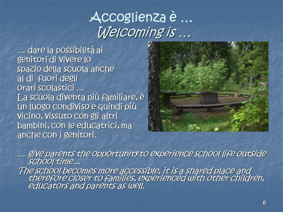 6 Welcoming is … Accoglienza è … Welcoming is … … dare la possibilità ai genitori di vivere lo spazio della scuola anche al di fuori degli orari scola