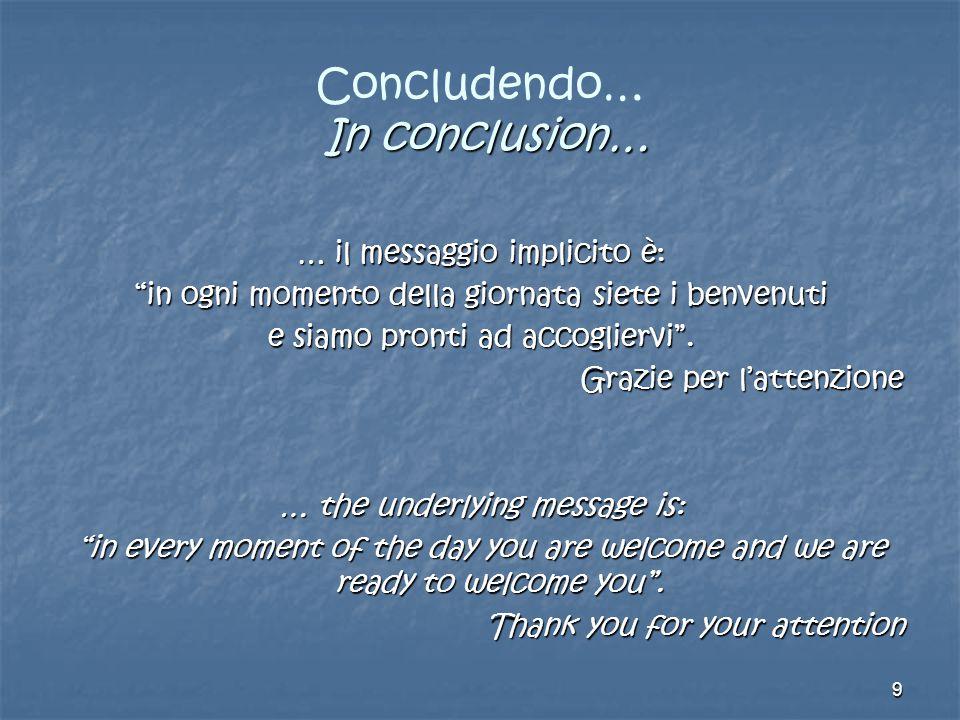9 In conclusion… Concludendo… In conclusion… … il messaggio implicito è: in ogni momento della giornata siete i benvenuti e siamo pronti ad accogliervi .