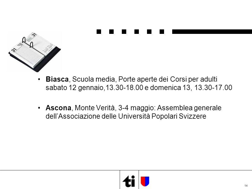 14 Biasca, Scuola media, Porte aperte dei Corsi per adulti sabato 12 gennaio,13.30-18.00 e domenica 13, 13.30-17.00 Ascona, Monte Verità, 3-4 maggio: Assemblea generale dell'Associazione delle Università Popolari Svizzere