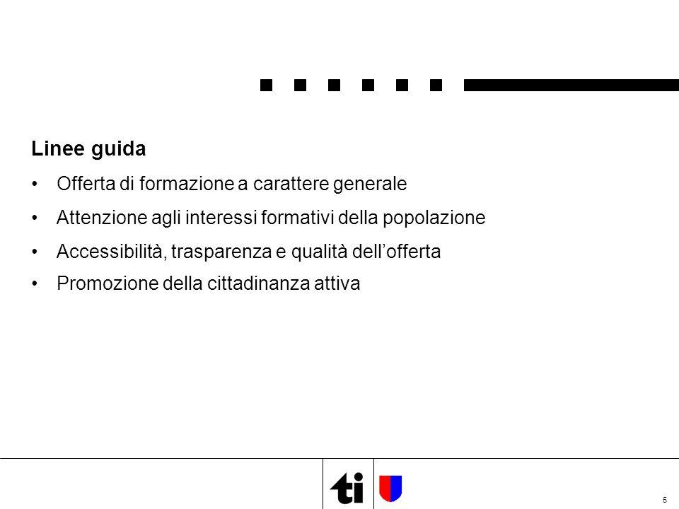 5 Linee guida Offerta di formazione a carattere generale Attenzione agli interessi formativi della popolazione Accessibilità, trasparenza e qualità dell'offerta Promozione della cittadinanza attiva