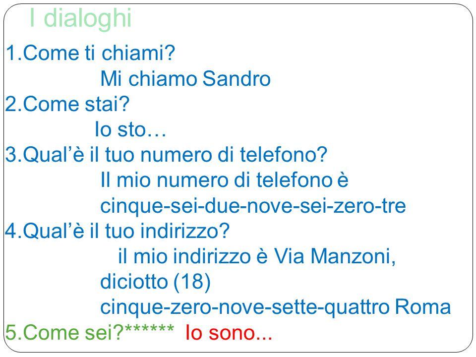 Adesso la terza persona… Mi chiamo Sandro  Si chiama Sandro Io sto cosi'-cosi'  Lui/lei sta cosi'-cosi' Il mio numero di telefono è cinque-sei-due-nove- sei-zero-tre  Il suo numero di telefono è cinque-sei-due-nove-sei-zero-tre Il mio indirizzo è Via Manzoni, diciotto (18) cinque-zero-nove-sette-quattro Roma  il suo indirizzo è Via Manzoni,diciotto (18)cinque-zero nove-sette- quattro Roma