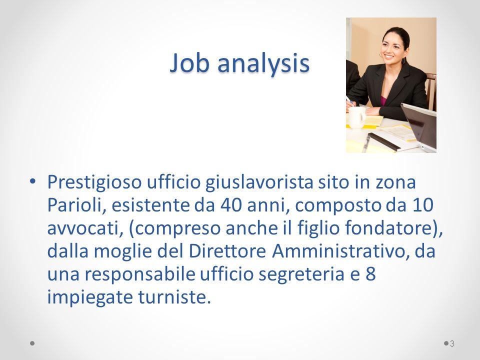Job analysis Prestigioso ufficio giuslavorista sito in zona Parioli, esistente da 40 anni, composto da 10 avvocati, (compreso anche il figlio fondator
