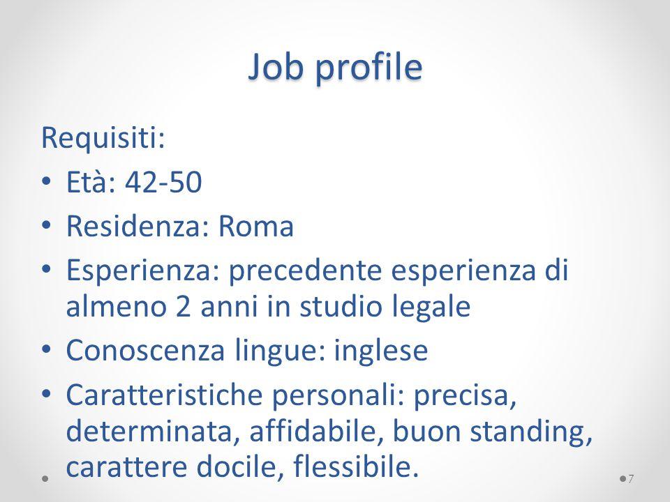 Job profile Requisiti: Età: 42-50 Residenza: Roma Esperienza: precedente esperienza di almeno 2 anni in studio legale Conoscenza lingue: inglese Carat