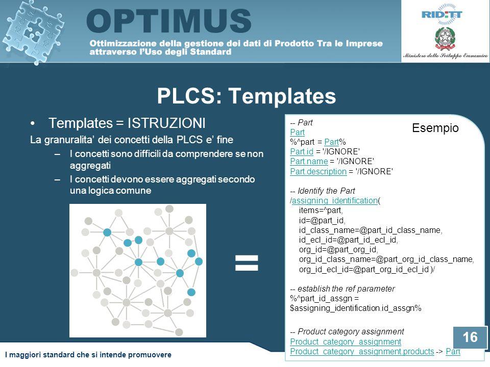 PLCS: Templates Templates = ISTRUZIONI La granuralita' dei concetti della PLCS e' fine –I concetti sono difficili da comprendere se non aggregati –I concetti devono essere aggregati secondo una logica comune -- Part Part %^part = Part% Part.id = /IGNORE Part.name = /IGNORE Part.description = /IGNORE -- Identify the Part /assigning_identification( items=^part, id=@part_id, id_class_name=@part_id_class_name, id_ecl_id=@part_id_ecl_id, org_id=@part_org_id, org_id_class_name=@part_org_id_class_name, org_id_ecl_id=@part_org_id_ecl_id )/ -- establish the ref parameter %^part_id_assgn = $assigning_identification.id_assgn% Part Part.id Part.name Part.descriptionassigning_identification -- Product category assignment Product_category_assignment Product_category_assignment.products -> Part Product_category_assignment Product_category_assignment.productsPart Esempio = 16 I maggiori standard che si intende promuovere