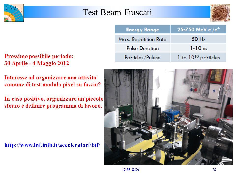Test Beam Frascati G.M. Bilei10 http://www.lnf.infn.it/acceleratori/btf/ Prossimo possibile periodo: 30 Aprile - 4 Maggio 2012 Interesse ad organizzar