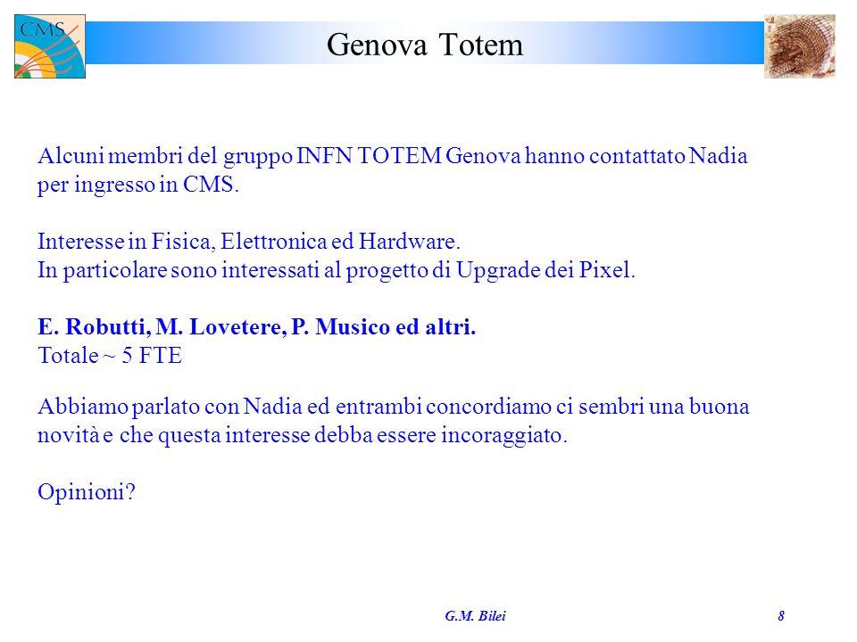 Genova Totem G.M. Bilei8 Alcuni membri del gruppo INFN TOTEM Genova hanno contattato Nadia per ingresso in CMS. Interesse in Fisica, Elettronica ed Ha