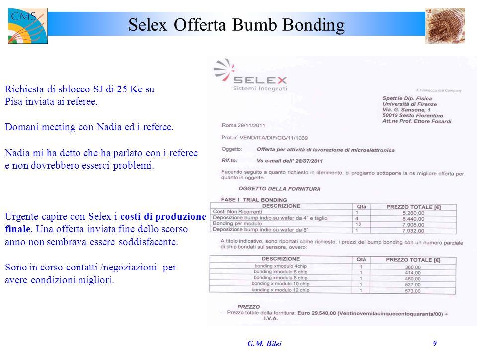 Selex Offerta Bumb Bonding G.M. Bilei9 Richiesta di sblocco SJ di 25 Ke su Pisa inviata ai referee.