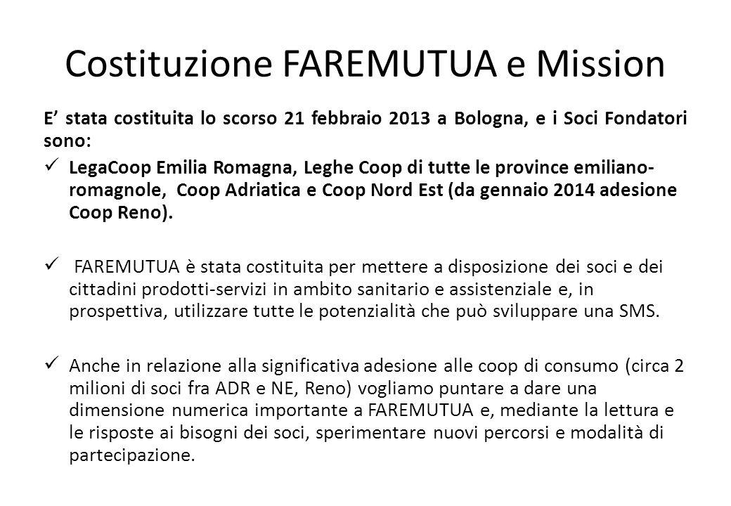 Costituzione FAREMUTUA e Mission E' stata costituita lo scorso 21 febbraio 2013 a Bologna, e i Soci Fondatori sono: LegaCoop Emilia Romagna, Leghe Coo
