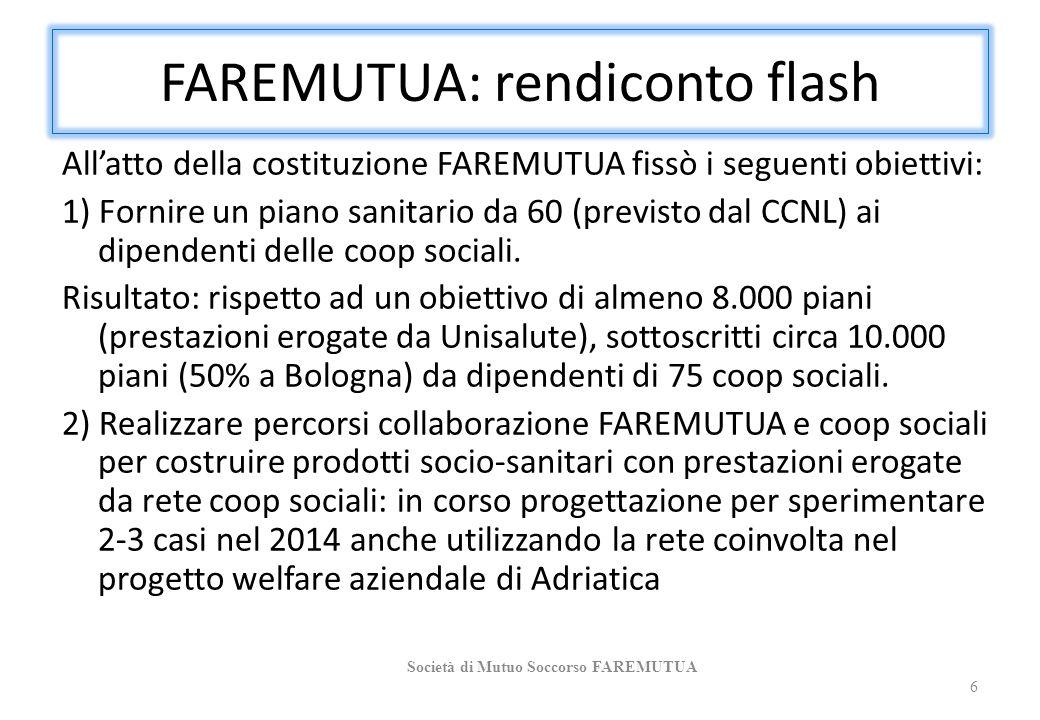 FAREMUTUA: rendiconto flash All'atto della costituzione FAREMUTUA fissò i seguenti obiettivi: 1) Fornire un piano sanitario da 60 (previsto dal CCNL) ai dipendenti delle coop sociali.