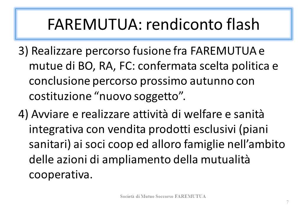 FAREMUTUA: rendiconto flash 3) Realizzare percorso fusione fra FAREMUTUA e mutue di BO, RA, FC: confermata scelta politica e conclusione percorso pros