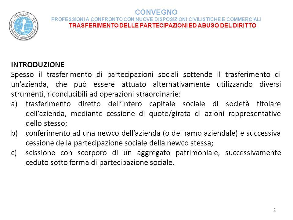 TRASFERIMENTO DELLE PARTECIPAZIONI ED ABUSO DEL DIRITTO CONVEGNO PROFESSIONI A CONFRONTO CON NUOVE DISPOSIZIONI CIVILISTICHE E COMMERCIALI 23 NATURA ELUSIVA DELL'OPERAZIONE CONFERIMENTO E SUCCESSIVA CESSIONE DELLA PARTECIPAZIONE RICEVUTA (segue) La trasformazione delle imposte di Registro da proporzionali a fisse per effetto della cessione indiretta d'azienda sotto forma di partecipazione nella società in cui è stata previamente conferita è a forte rischio di contestazione fiscale.