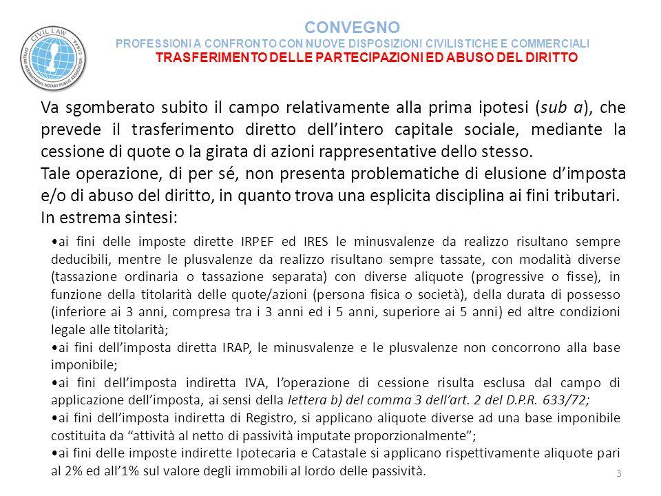 TRASFERIMENTO DELLE PARTECIPAZIONI ED ABUSO DEL DIRITTO CONVEGNO PROFESSIONI A CONFRONTO CON NUOVE DISPOSIZIONI CIVILISTICHE E COMMERCIALI 4 Diversamente dalla cessione di partecipazioni sociali, gli altri strumenti (cessione di partecipazioni sociali preceduti da operazioni straordinarie di conferimento o scissione) per il diritto tributario italiano possono presentare problematiche con profili di elusione fiscale.