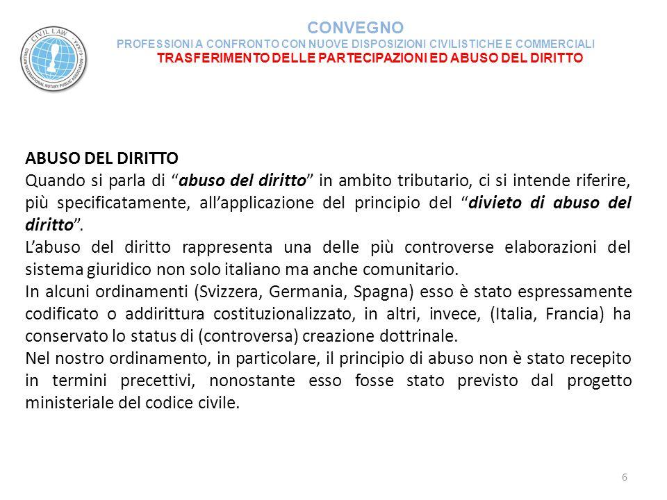 TRASFERIMENTO DELLE PARTECIPAZIONI ED ABUSO DEL DIRITTO CONVEGNO PROFESSIONI A CONFRONTO CON NUOVE DISPOSIZIONI CIVILISTICHE E COMMERCIALI 37 NATURA ELUSIVA DELL'OPERAZIONE DI SCISSIONE E SUCCESSIVA CESSIONE DELLA PARTECIPAZIONE Il legislatore tributario ha fissato per le operazioni di scissione il principio della neutralità fiscale.