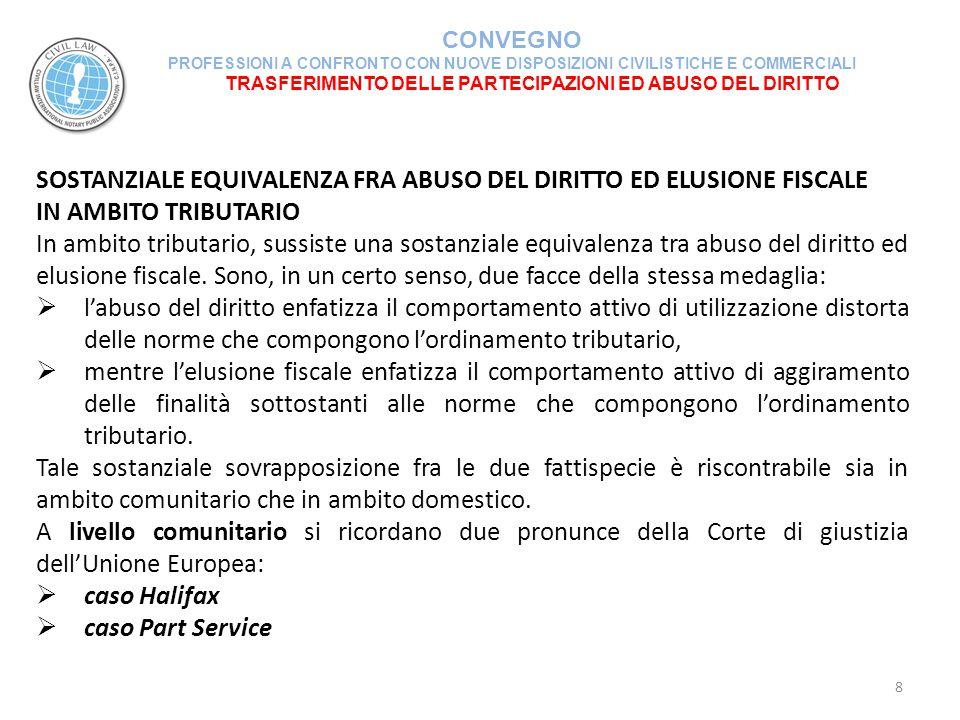 TRASFERIMENTO DELLE PARTECIPAZIONI ED ABUSO DEL DIRITTO CONVEGNO PROFESSIONI A CONFRONTO CON NUOVE DISPOSIZIONI CIVILISTICHE E COMMERCIALI 29 (segue) La Commissione Tributaria Provinciale di REGGIO EMILIA n.