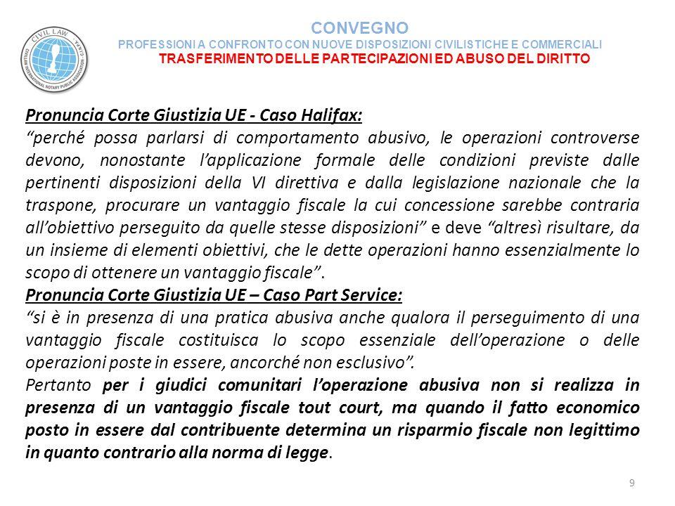 TRASFERIMENTO DELLE PARTECIPAZIONI ED ABUSO DEL DIRITTO CONVEGNO PROFESSIONI A CONFRONTO CON NUOVE DISPOSIZIONI CIVILISTICHE E COMMERCIALI 20 NATURA ELUSIVA DELL'OPERAZIONE CONFERIMENTO E SUCCESSIVA CESSIONE DELLA PARTECIPAZIONE RICEVUTA (segue) In estrema sintesi le condizioni soggettive ed oggettive per poter beneficiare del regime PEX risultano essere le seguenti:  periodo minimo di possesso ininterrotto per circa 13 mesi (… da primo giorno del 12° mese antecedente ….);  in bilancio deve trattarsi di immobilizzazioni finanziarie;  l'impresa deve essere allocata (residente) in Stati non aventi regime fiscale privilegiato; la società partecipata deve esercitare un'impresa commerciale (per presunzione le società di gestione immobiliare non esercitano mai un'impresa commerciale).