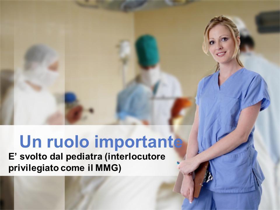 Un ruolo importante E' svolto dal pediatra (interlocutore privilegiato come il MMG)