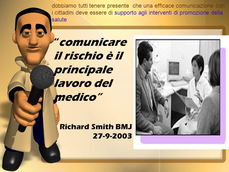 dobbiamo tutti tenere presente che una efficace comunicazione con i cittadini deve essere di supporto agli interventi di promozione della salute comunicare il rischio è il principale lavoro del medico Richard Smith BMJ 27-9-2003