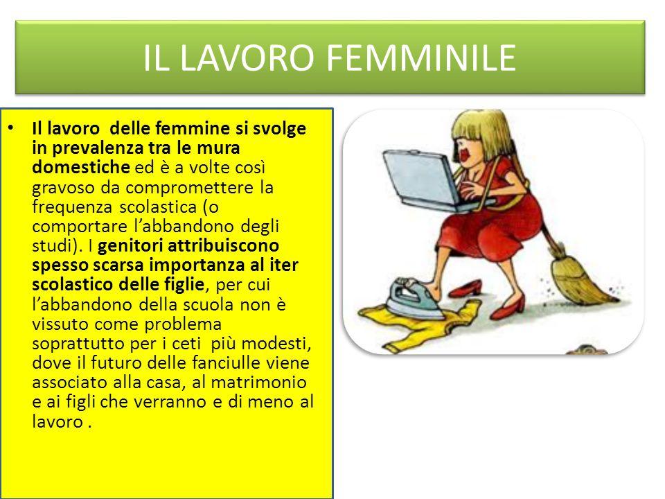 IL LAVORO FEMMINILE Il lavoro delle femmine si svolge in prevalenza tra le mura domestiche ed è a volte così gravoso da compromettere la frequenza scolastica (o comportare l'abbandono degli studi).