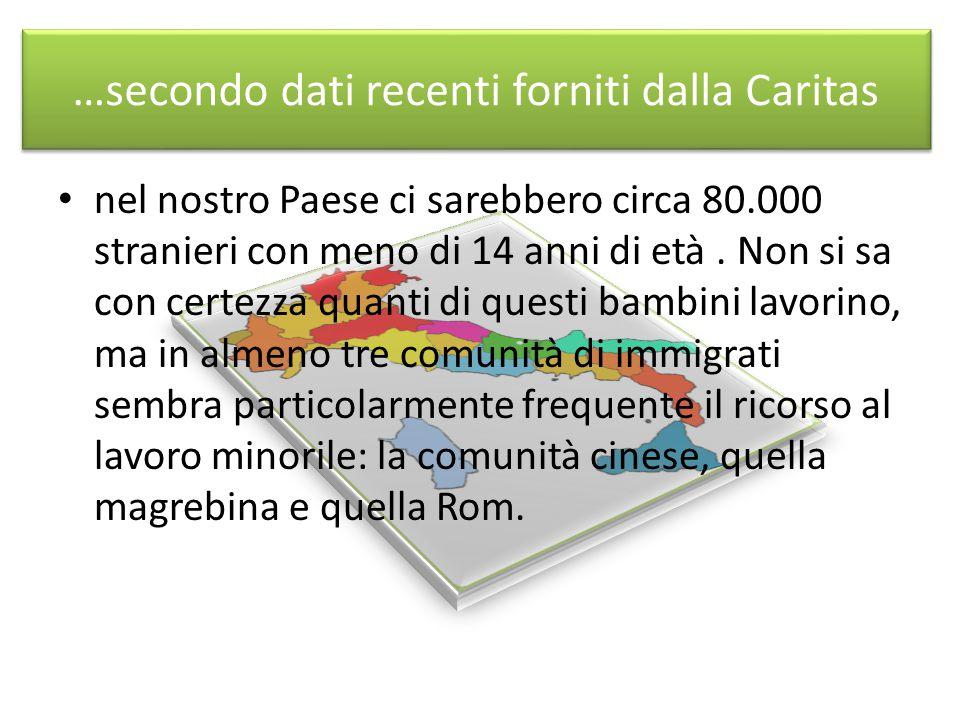 …secondo dati recenti forniti dalla Caritas nel nostro Paese ci sarebbero circa 80.000 stranieri con meno di 14 anni di età.