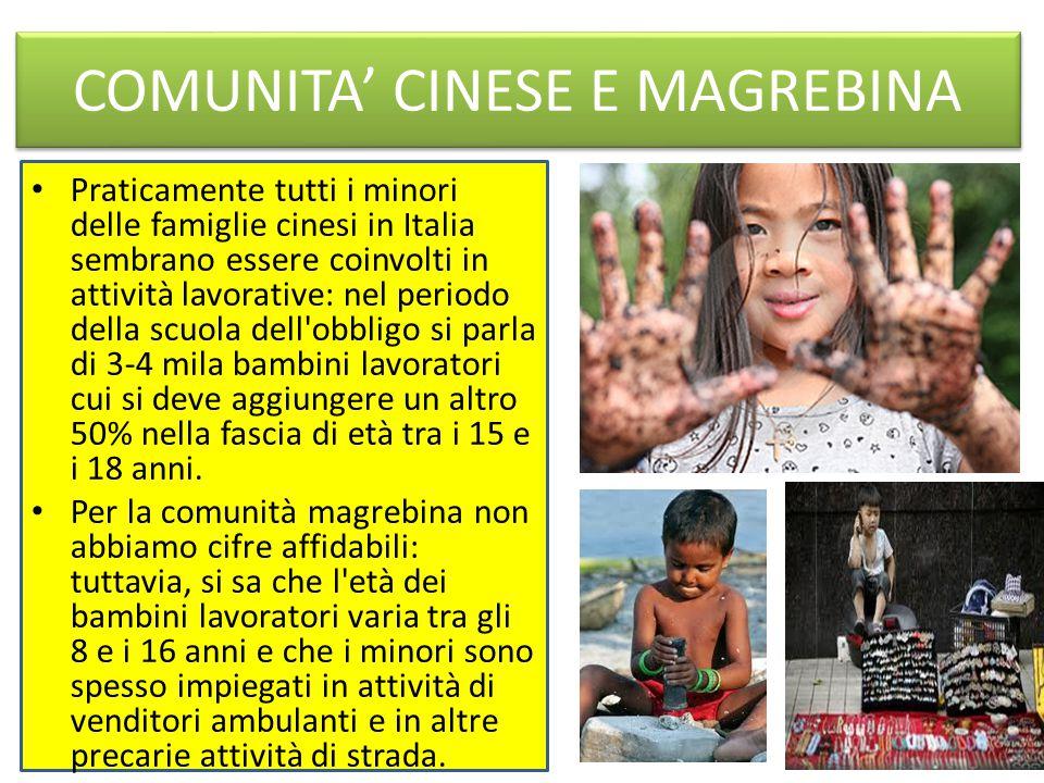 COMUNITA' CINESE E MAGREBINA Praticamente tutti i minori delle famiglie cinesi in Italia sembrano essere coinvolti in attività lavorative: nel periodo della scuola dell obbligo si parla di 3-4 mila bambini lavoratori cui si deve aggiungere un altro 50% nella fascia di età tra i 15 e i 18 anni.