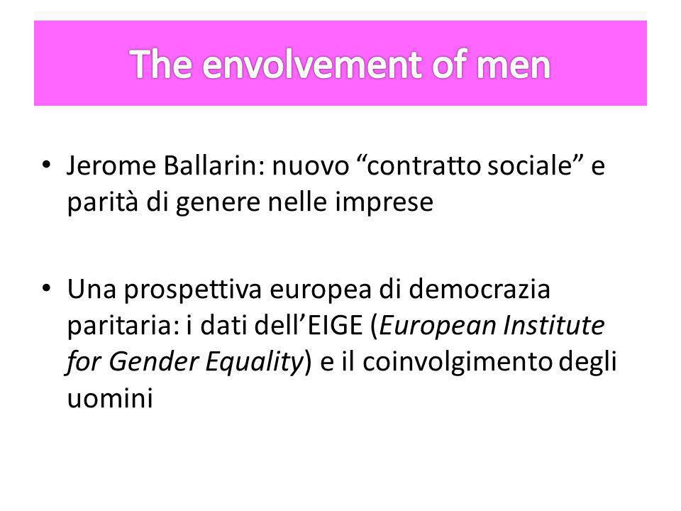 Jerome Ballarin: nuovo contratto sociale e parità di genere nelle imprese Una prospettiva europea di democrazia paritaria: i dati dell'EIGE (European Institute for Gender Equality) e il coinvolgimento degli uomini
