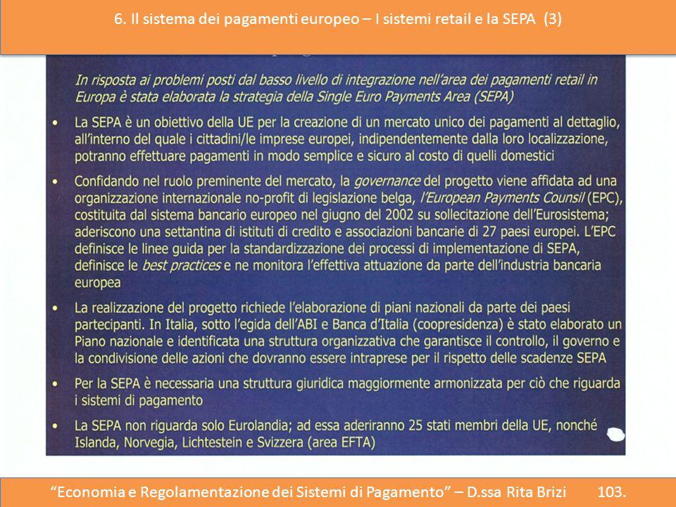 """"""" """"Economia e Regolazione del Sistema dei Pagamenti"""