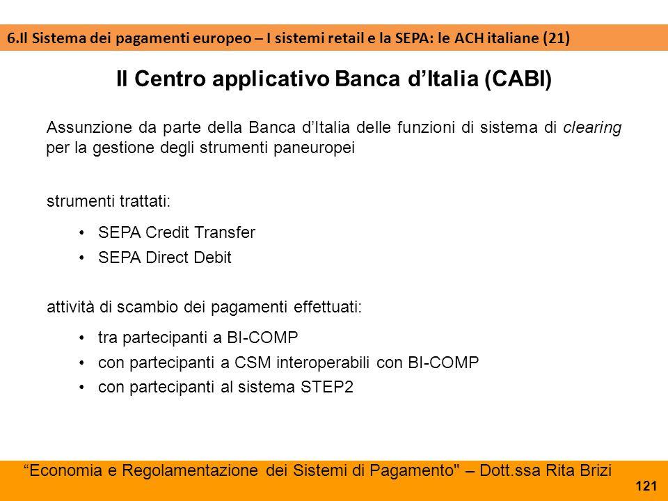 121 Assunzione da parte della Banca d'Italia delle funzioni di sistema di clearing per la gestione degli strumenti paneuropei Il Centro applicativo Ba