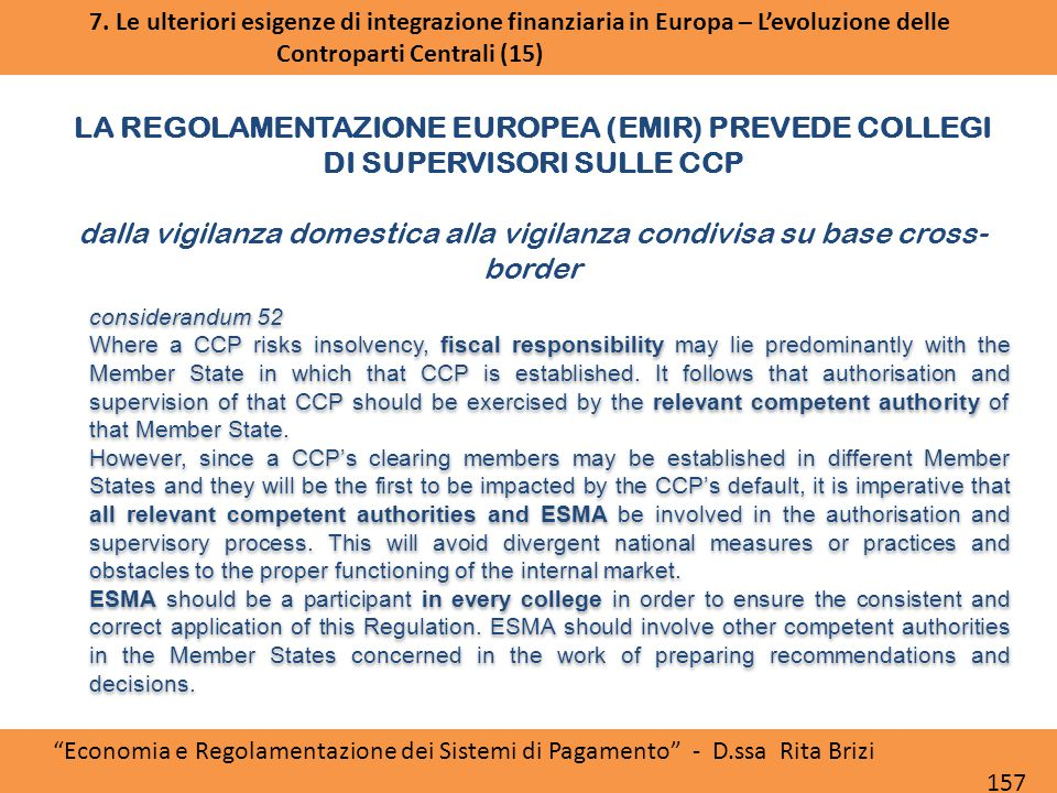 LA REGOLAMENTAZIONE EUROPEA (EMIR) PREVEDE COLLEGI DI SUPERVISORI SULLE CCP dalla vigilanza domestica alla vigilanza condivisa su base cross- border Accordo politico PTSC ESMA Board of Supervisors Approvazione RTS da parte della Commissione considerandum 52 Where a CCP risks insolvency, fiscal responsibility may lie predominantly with the Member State in which that CCP is established.