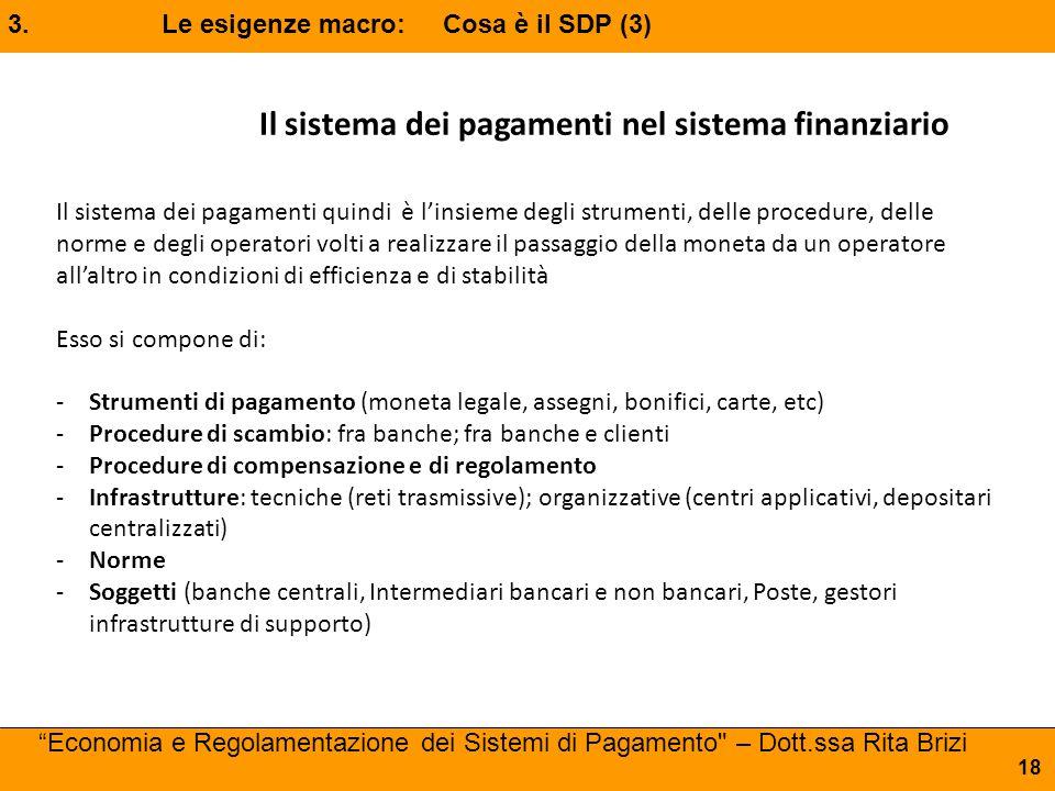 """3. Le esigenze macro: Cosa è il SDP (3) """"Economia e Regolamentazione dei Sistemi di Pagamento"""