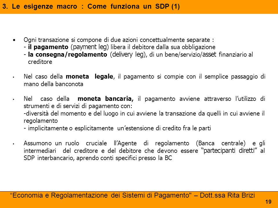 3. Le esigenze macro : Come funziona un SDP (1) 19 Ogni transazione si compone di due azioni concettualmente separate : -il pagamento ( payment leg )