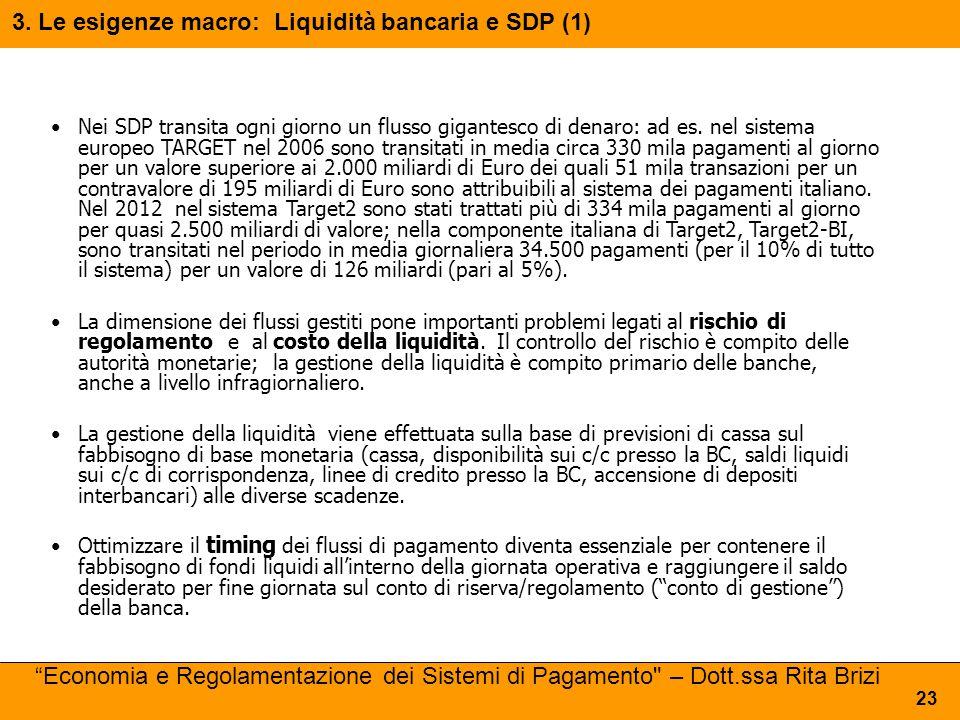 Nei SDP transita ogni giorno un flusso gigantesco di denaro: ad es. nel sistema europeo TARGET nel 2006 sono transitati in media circa 330 mila pagame