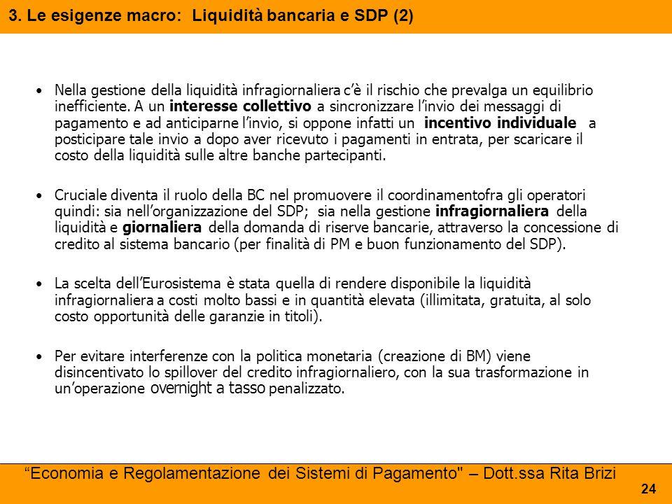 Nella gestione della liquidità infragiornaliera c'è il rischio che prevalga un equilibrio inefficiente. A un interesse collettivo a sincronizzare l'in