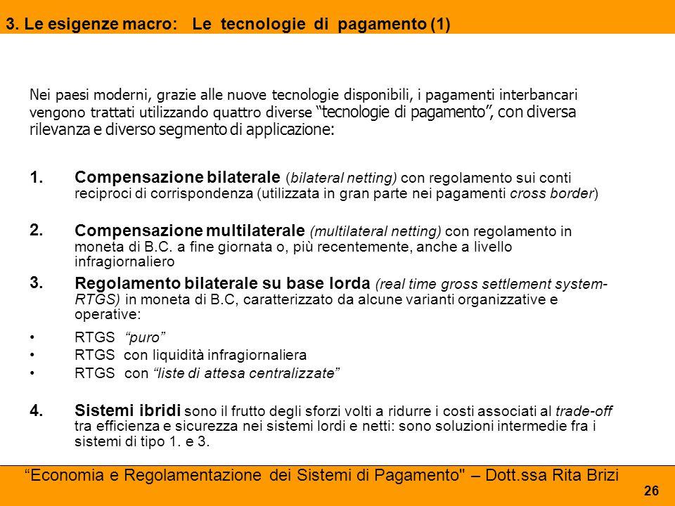 1. Compensazione bilaterale (bilateral netting) con regolamento sui conti reciproci di corrispondenza (utilizzata in gran parte nei pagamenti cross bo