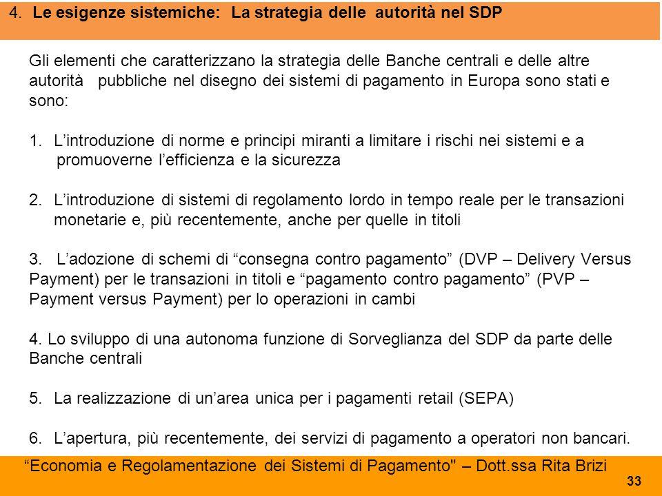 4. Le esigenze sistemiche: La strategia delle autorità nel SDP Gli elementi che caratterizzano la strategia delle Banche centrali e delle altre autori
