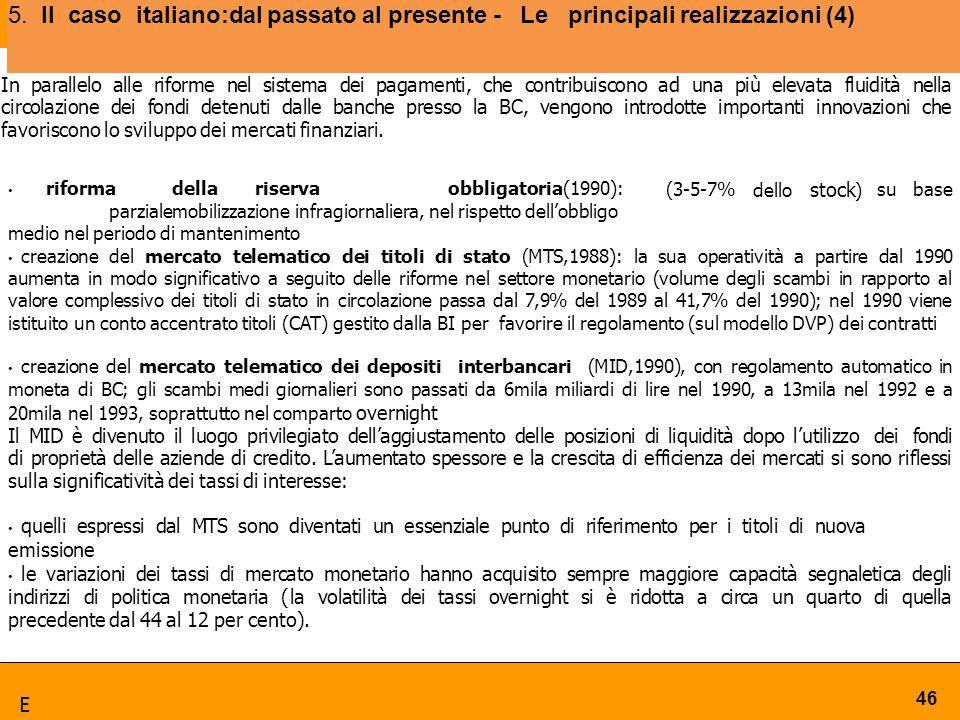 5. Ilcaso italiano:dal passato al presente - Le principali realizzazioni (4) 46 In parallelo alle riforme nel sistema dei pagamenti, che contribuiscon
