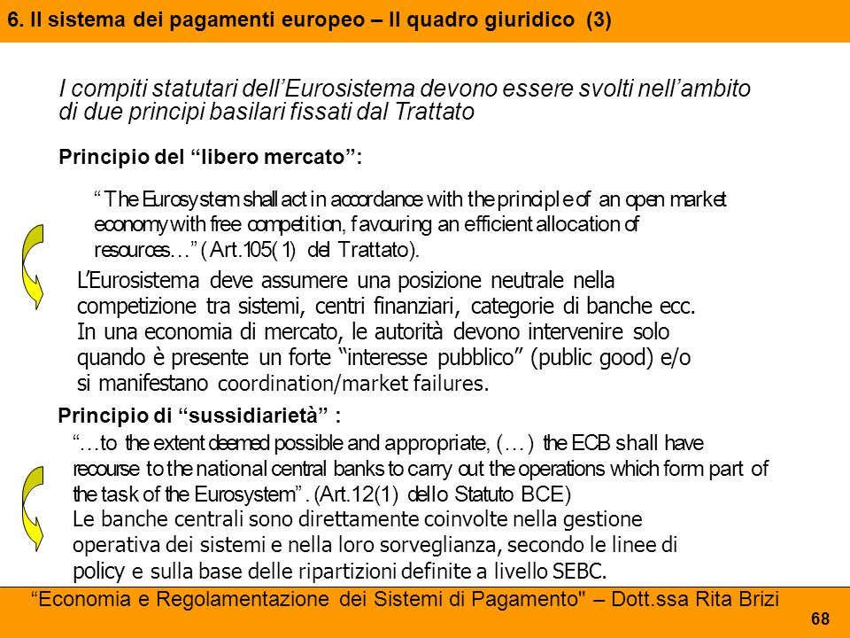 I compiti statutari dell'Eurosistema devono essere svolti nell'ambito di due principi basilari fissati dal Trattato Principio del libero mercato : The Eurosystem shall act in accordance with the principle of an open market economy with free competition, favouring an efficient allocation of resources… (Art.105(1) del Trattato).